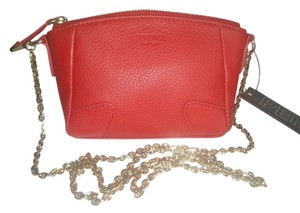 Perlina Red Genuine Leather Gold Accents Mini Chain Strap Cross Body Bag