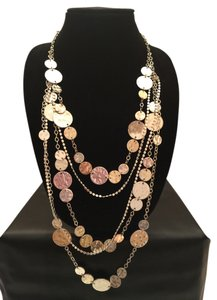 White House | Black Market WHBM Long Textured Metal Medallion Necklace