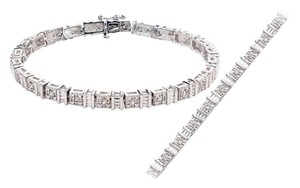 1/4 CTTW Diamond And White Gold Plated Tennis Bracelet