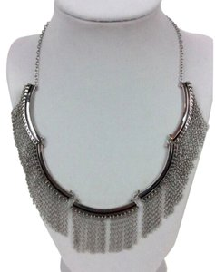 Rebecca Minkoff NWT!!! JUST REDUCED PRICE! Silver Tone Fringe Bib Necklace 18 inches