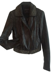 Guess Leather Biker Zippers Motorcycle Jacket