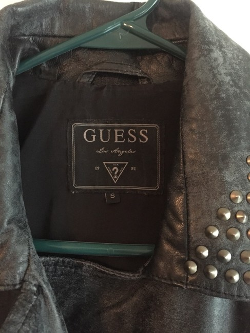 Guess Leather Biker Zippers Studs Distressed Look Motorcycle Jacket