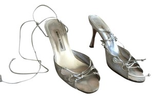 Manolo Blahnik Formal Ankle Strap Silver Sandals