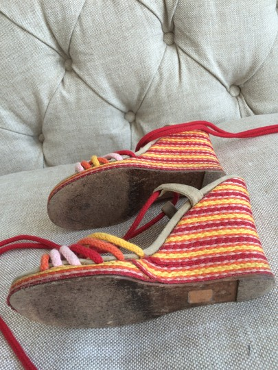 Marc Jacobs Designer Color Summer Festive Ties Red Yellow Pink Orange Wedges