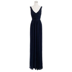 J.Crew Newport Navy Silk Chiffon Heidi Gown Traditional Bridesmaid/Mob Dress Size 2 (XS)