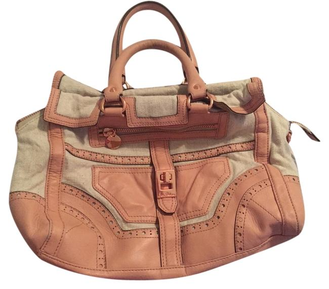 Item - Peach and Beige Canvas Leather Shoulder Bag