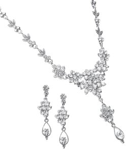 Mariell Mariell Crystal Cluster Wedding Prom Jewelry Set