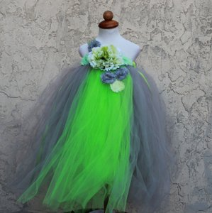Custom Made Lime Grey Flower Girl Dress - Infant - 8 Years - Grey Green Handmade Tutu Dress