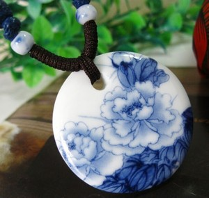 Blue & White Porcelain Hand Painted Necklace Free Shipping