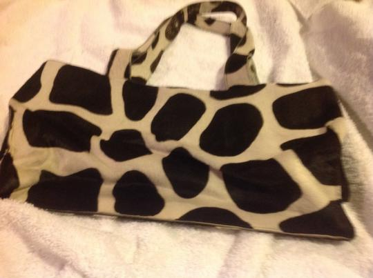 DKNY Tote in Black and white giraffe pattern