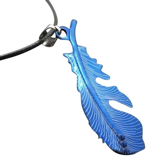 Other Blue Stainless Steel Feather Necklace Free Shipping