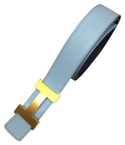 Hermès Dark Blue/ Blue Atoll Leather Reversible Gold Constance buckle