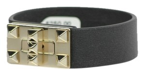 Valentino Valentino Rockstud Leather Turn-Lock Bracelet - Small - Black/Silver