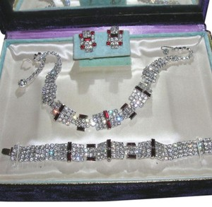 Mam'selle Vintage Mam'selle Ruby Rhinestone Necklace Bracelet Earrings Set Mamselle Parure
