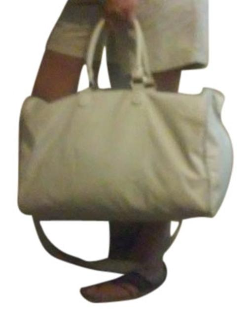 Item - Plaid Piping White Canvas Weekend/Travel Bag