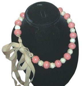 Other Vintage Native American Indian Pink & White Coral Trade Bead Necklace