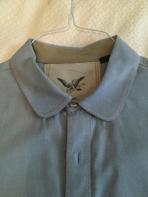 French Connection Unisex Shirt Unisex Mens Mens Dress Shirt Button Down Shirt Light Blue