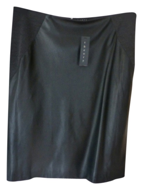 Theory Leather Skirt Black