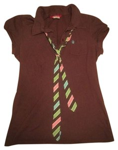 UNIONBAY Neck Cute T Shirt Brown