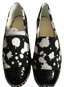 Chanel Runway Rare Art Fashion Tweed Espadrille 2015 Collection Leather Black w/ White Splatter Paint Flats