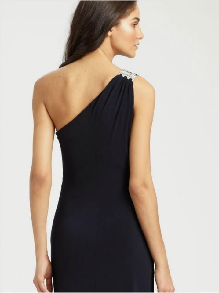 David Meister Navy Jersey Gown Long Formal Dress Size 8 (M) - Tradesy