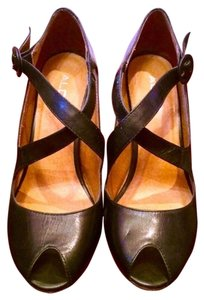 ALDO Leather Leather Peep Toe Leather Peep Toe Crisscross Strap Black Pumps
