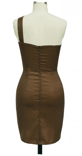 Brown Satin Polyester Asymmetrical One Shoulder Fashionista Sexy Bridesmaid/Mob Dress Size 20 (Plus 1x)