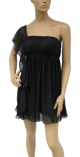 Black Chiffon Cascading Feminine Dress Size 8 (M)