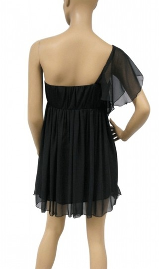 Black Chiffon Cascading Feminine Bridesmaid/Mob Dress Size 8 (M)