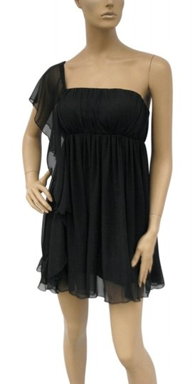 Black Chiffon Cascading One Shoulder Size:lrg Feminine Bridesmaid/Mob Dress Size 12 (L)