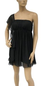 Black Cascading One Shoulder Chiffon Size:1x/2x Dress