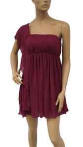 Red Chiffon Cascading One Shoulder Size:small Feminine Bridesmaid/Mob Dress Size 4 (S)
