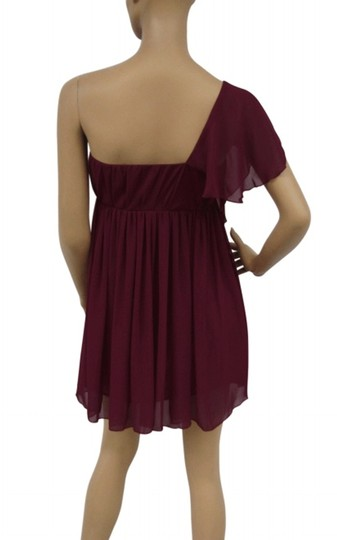 Red Chiffon Cascading One Shoulder Size:small Feminine Dress Size 4 (S)