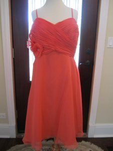 Eden Coral Coral Shear Overlay Flowing Bridesmaid Dress Dress