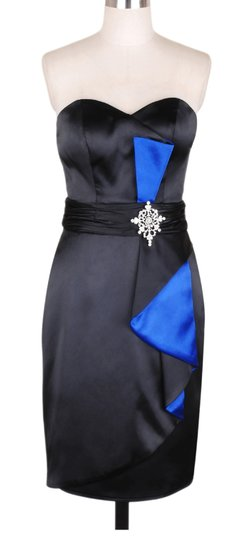 Black Satin Polyester With Blue Accents Stunning Size:small Sexy Dress Size 4 (S)