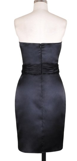 Black Satin Polyester With Blue Accents Stunning Size:small Sexy Bridesmaid/Mob Dress Size 4 (S)