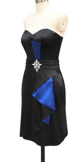 Black Satin Blue Accents Stunning Size:med Sexy Bridesmaid/Mob Dress Size 8 (M)