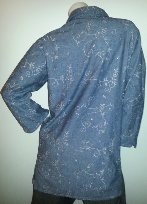 Denim & Co. New W/O Tags Embroidered Extra Long Tunic Gray Jacket