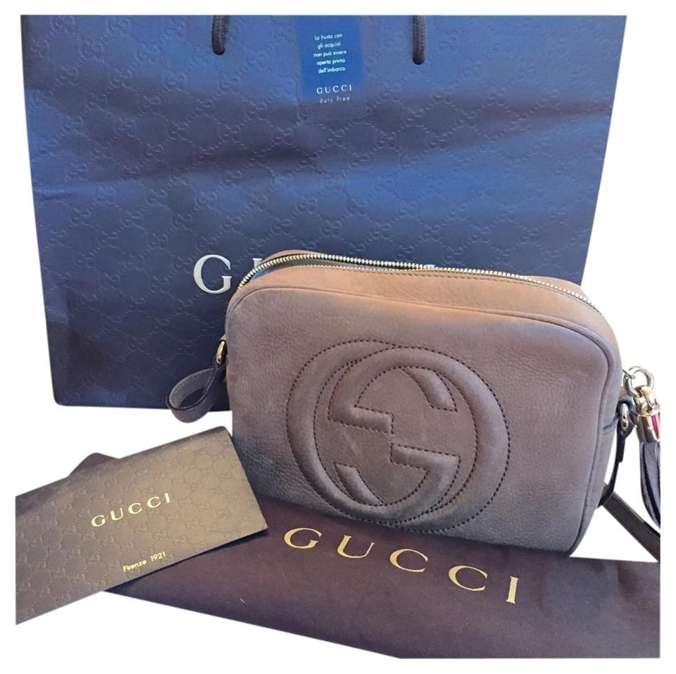 a66811cf342 Gucci Soho Nubuck Leather Disco Taupey Brownish Suede Cross Body Bag ...