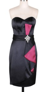Black Black Pinkaccents Stunning Satin Size:small Dress