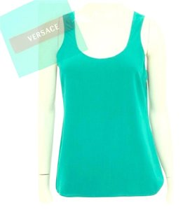 Versace Classy Round Neckline Green Green Business Suit Camisole Top Teal