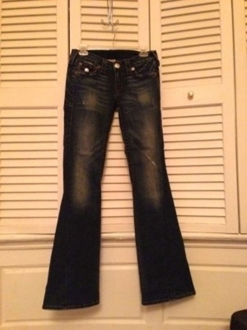 True Religion Rainbow Joey With Brown Stitching Flare Leg Jeans-Distressed