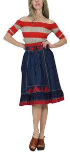 Gunne Sax Skirt Denim Blue Red