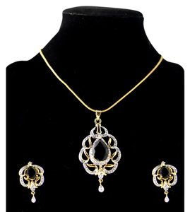 Other American Diamond with Black stone Pendant Set