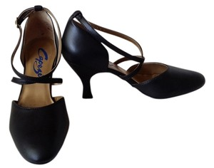 Capezio Leather Suede Sole X Strap Ballroom Salsa black Pumps
