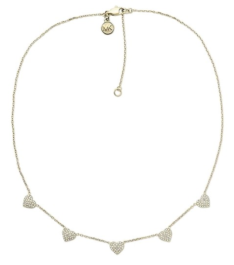 Michael Kors SET-Gold-Tone Crystal Heart Necklace & Crystal Heart Earrings