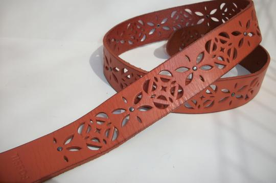 Fossil New! Fossil Brand Signature Floral Cut Out Leather Belt -S- Light Orange