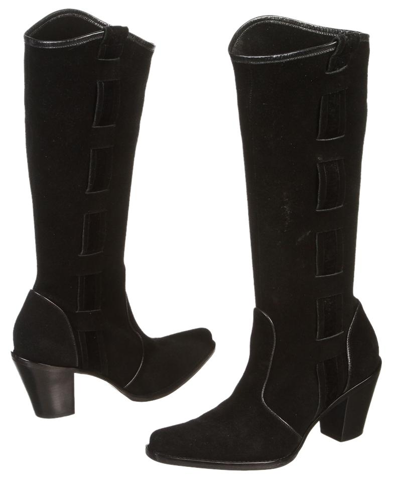 Via Spiga 7.5) Black Suede Pointed Toe Knee High 7.5) Spiga Boots/Booties f0e4cd