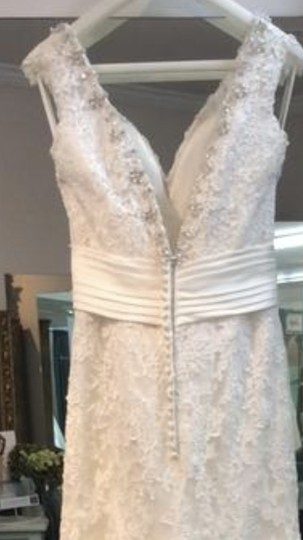 Mori Lee Ivory/ Ivory Lace Satin Beading 2608 Modern Dress Size 8 (M)