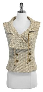 Chanel Beige Tweed Wool Silk Double Breasted Vest